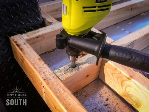 drilling into tiny house subfloor